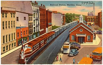 Meriden station - Postcard of the 1942-built Meriden station shortly after its construction