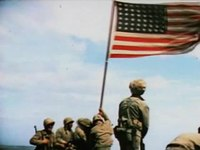 Archivo:Raising the Flag on Iwo Jima (color).ogv