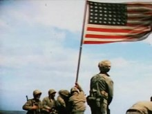 Fichier:Raising the Flag on Iwo Jima (color).ogv