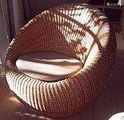 A rattan chair