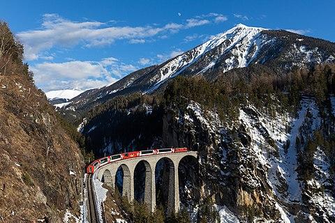 Glacier Express on the Landwasser Viaduct