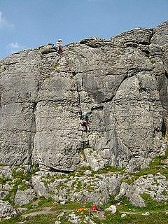 Ballyryan Inland limestone cliff in The Burren, Ireland