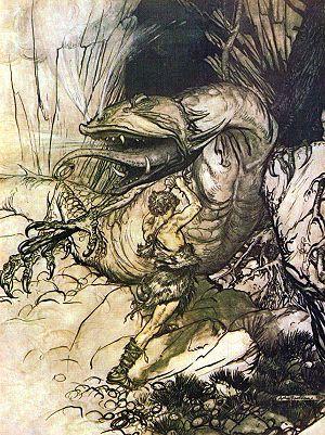 Fáfnismál - Sigurd plunges his sword into Fáfnir's chest in this illustration by Arthur Rackham.