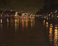 Rio Amstel óleo sobre tela Frans Koppelaar