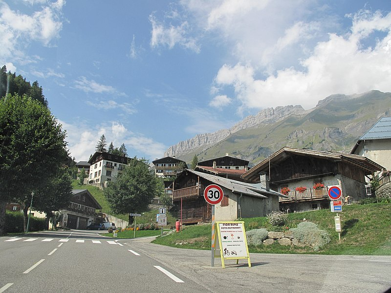The slope of the Aravis pass on east side at la Giettaz (Savoie, France).