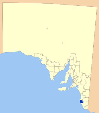 District Council of Robe - Location of the District Council of Robe in blue
