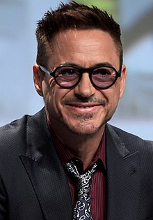 Closeup of Robert Downey Jr. smiling at the San Diego Comic Con International in San Diego, California
