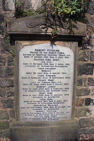 Robert Pitcairn (antiquary) - Robert Pitcairn's grave, New Calton Cemetery