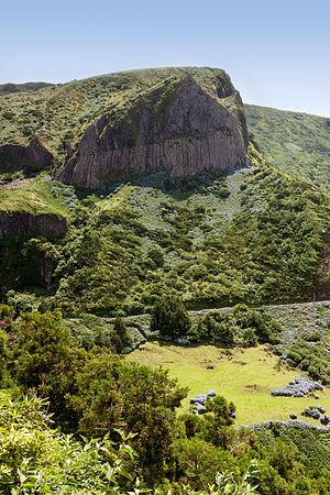 Flores Island (Azores) - Rocha dos Bordões, an iconic symbol of the Flores; a columnar basalt formation