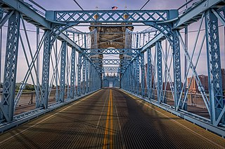 John A. Roebling Suspension Bridge Suspension bridge spanning the Ohio river at Cincinnati opened in 1866