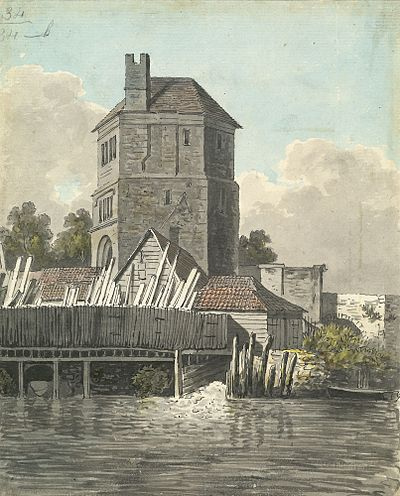 """Friar Bacon's Study"" in Oxford. By the late 18th century this study on Folly Bridge had become a place of pilgrimage for scientists, but the building was pulled down in 1779 to allow for road widening. Roger Bacons Study in Oxford.jpg"