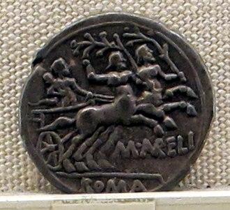 Aurelia (gens) - Image: Roma, repubblica, denario di m. aurelius cotta. 139 ac