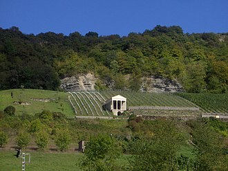 "Igel - The ""Grutenhäuschen"" a partly reconstructed Roman tomb in the vineyards near Igel."
