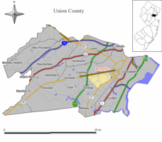 Map of Roselle in Union County. Inset: Location of Union County highlighted in the State of New Jersey.