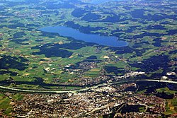 2010 aerial photo of Rosenheim and Simssee.