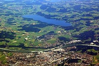 Rosenheim - 2010 aerial photo of Rosenheim and Simssee.