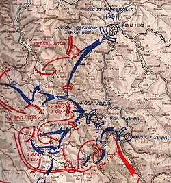 map showing the ground assault on Drvar by elements of the 7th SS Division