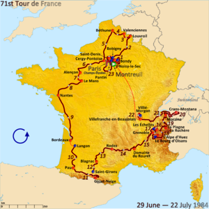 1984 Tour de France - Route of the 1984 Tour de France