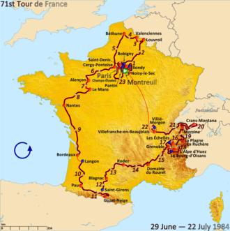 1984 Tour de France - Route of the 1984 Tour de France