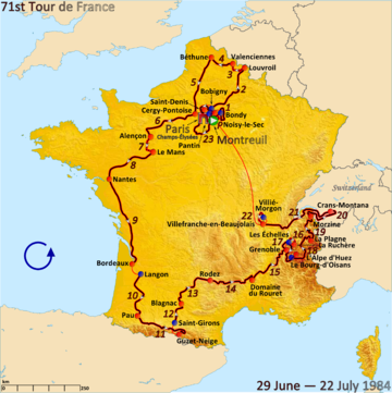 Route of the 1984 Tour de France