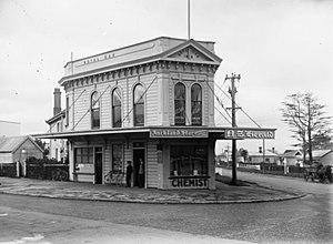 Royal Oak, New Zealand - Pharmacy at today's Royal Oak Roundabout in 1910