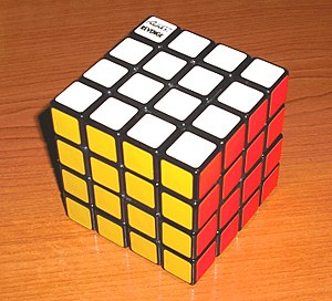 Rubik's Revenge - Early Rubik's Revenge cube, with white opposite blue, and green opposite yellow