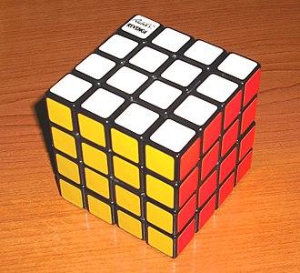 Rubik's Revenge - Early Rubik's Revenge cube, with white opposite blue, and green opposite yellow