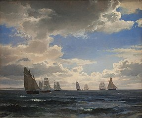 Sailing Ships in the Sound south of Kronborg