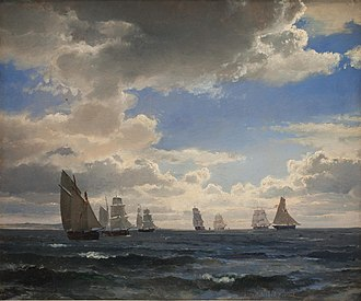 Carl Frederik Sørensen - Carl Frederik Sørensen: Sailing Ships in the Strait South of Kronborg (1857)