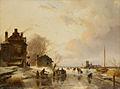 """SA 1895-Een boerenherberg en een schuur aan een bevroren rivier-""""Een boerenherberg en eene schuur aan eene bevrozen rivier, rijk gestoffeerd met ijssleden en schaatsenrijders"""".jpg"""