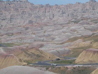 South Dakota Highway 240 - SD 240 winding through Badlands National Park