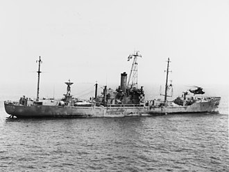 USS Liberty (AGTR-5) - USS Liberty being assisted by Sixth Fleet SH-3 after she was attacked by Israeli forces on 8 June 1967.
