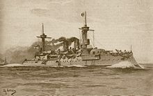 An illustration of a large warship steaming at high speed and creating a large bow wave