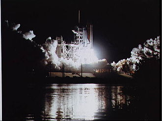 STS-61-B - Night launch of Atlantis at the beginning of the STS-61-B mission.