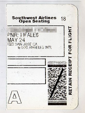 English: Airline Ticket Receipt of Southwest A...