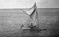 Sailing Canoe brailed on starboard tack, Jaliut Lagoon, Marshall Islands (1899-1900).jpg
