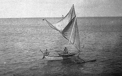 Sailing Canoe brailed on starboard tack, Jaliut Lagoon, Marshall Islands (1899-1900).jpg