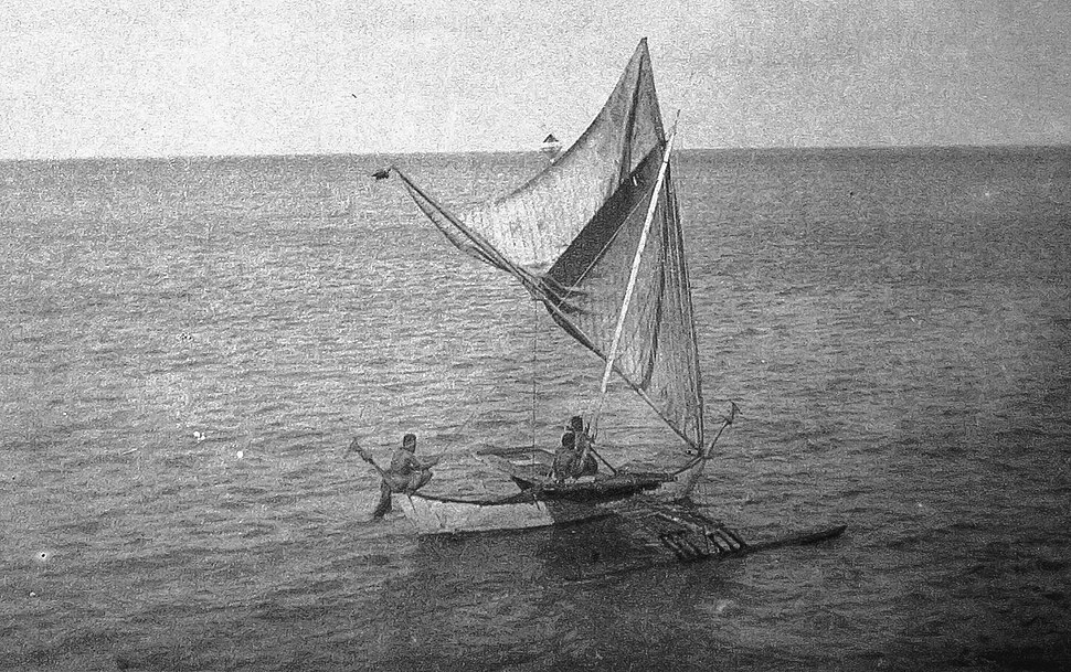 Sailing Canoe brailed on starboard tack, Jaliut Lagoon, Marshall Islands (1899-1900)