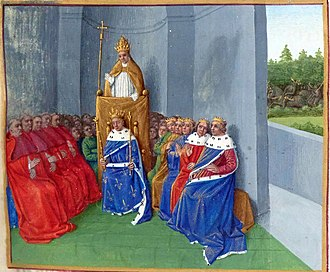 Gerard (archbishop of York) - Gerard undertook missions to Pope Urban II, seen here preaching the First Crusade in an illustration from the Grand Chronicle of France, a work from about 1455.