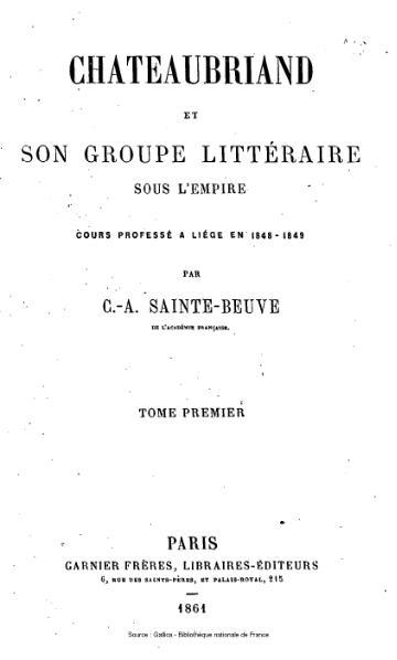 File:Sainte-Beuve - Chateaubriand et son groupe littéraire sous l'Empire, tome 1.djvu