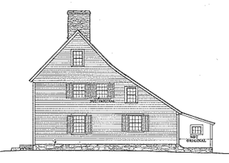 Saltbox-style homes originated in New England after 1650 Saltbox side elevation.png