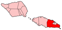 Map of Samoa showing Atua district