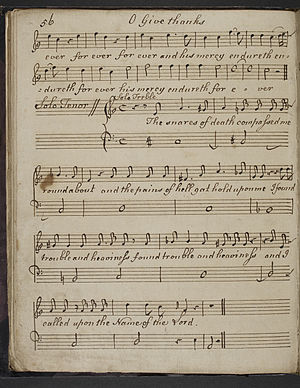 """Samuel Arnold (composer) - """"O Give Thanks"""" in the hand of Thomas Barrow"""