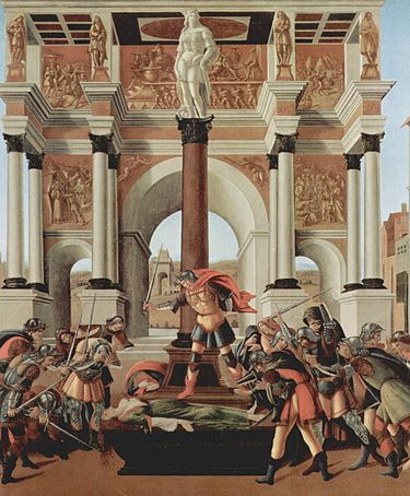 Botticelli's Death of Lucretia (c. 1500): in Roman legend, Lucretia's rape and suicide brought about the overthrow of the monarchy and the formation of the Roman Republic Sandro Botticelli 078.jpg