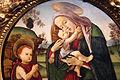 Sandro botticelli e bottega, madonna col bambino e san giovannino in un tondo, 1490-1500 ca. 02.JPG