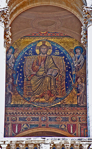 Filippo Rusuti - Christ in Glory by Filippo Rusuti, mosaic on the frontside of Basilica di Santa Maria Maggiore, Rome