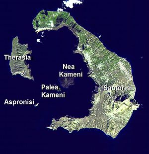 Santorini caldera - Santorini island group from space
