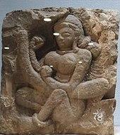 Saraswati derde eeuw na Christus met harp Veena