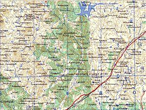 Savandurga - Map of the Savandurga area