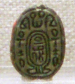 Scarab bearing the final prenomen of the Hyksos pharaoh Apepi